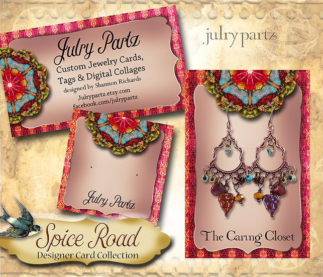 SPICE ROAD #4•Custom Cards•Labels•Earring Display•Clothing Tags