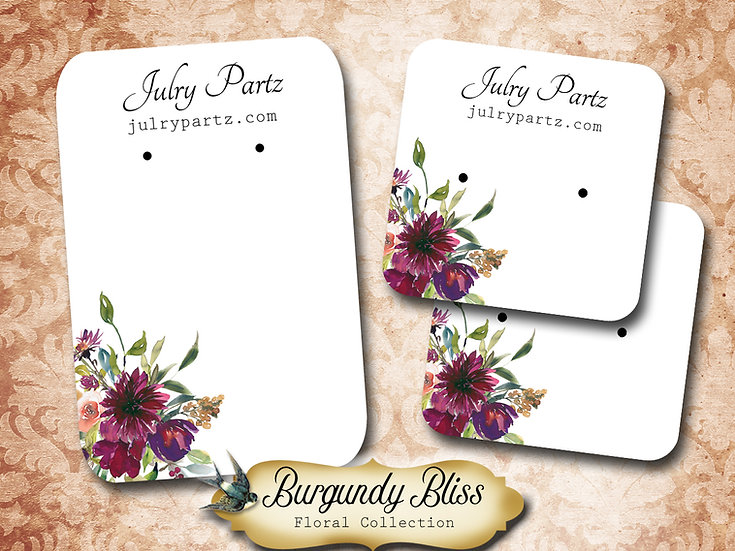 BURGUNDY BLISS •Necklace Card• Earring Cards •Jewelry Cards •Display CARD
