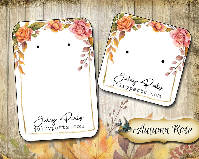 60•AUTUMN ROSE•Necklace Card•Earring Cards•Jewelry Cards•Display Card