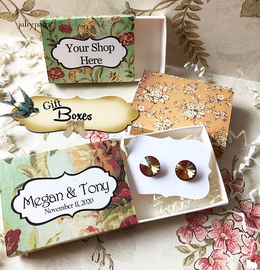 Set of 12 •2x2.60 GIFT BOX•Jewelry Box•Gift Packaging• Floral 8