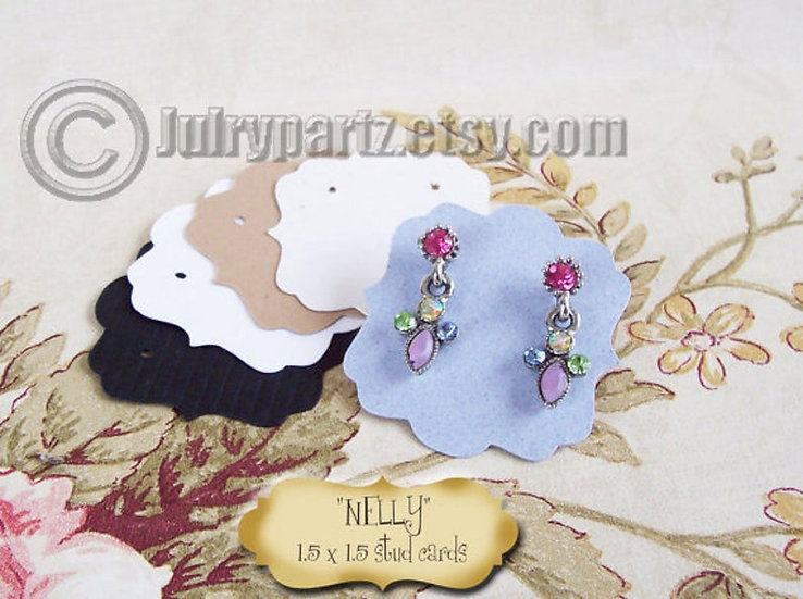 30 NELLY 1.5 x 1.5•Decorative Ear Cards•Jewelry Cards•Earring Card