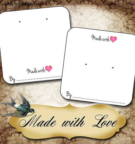 Made with LOVE•Necklace Card•Earring Cards•Jewelry Cards•Display Car