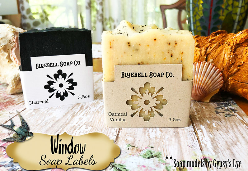 36•FLOWER #1 WINDOW Custom SOAP Labels•Soap Packaging•Bar Soap Label•