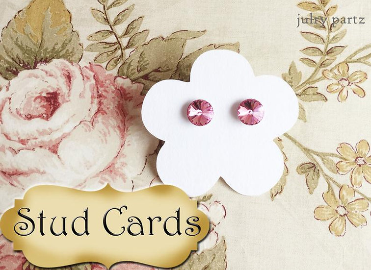 36•2.5 x 2.5 Flower STUD•EARRING Cards•Jewelry Card•Post Earring Card•STUD 12
