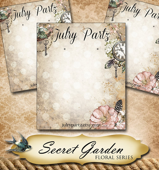 SECRET GARDEN #4•Custom Cards•Labels•Earring Display•Clothing Tags
