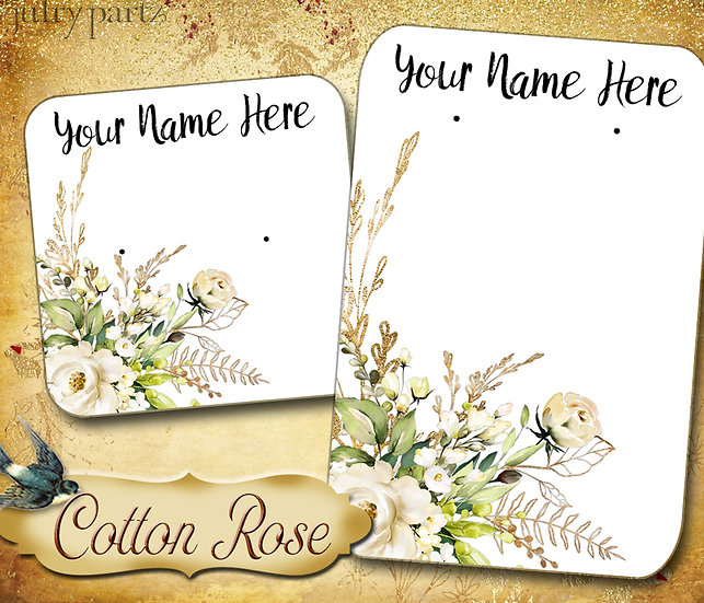 60•COTTON ROSE 4•Necklace Card•Earring Cards•Jewelry Cards•Display Card