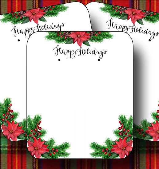 HOLIDAY•Earring Cards•Holiday Tags•Holiday Labels•POINSETTA 1