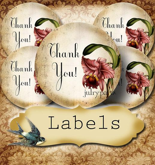 PREMADE •60 Custom 1.5 x 1.5 Round STICKERS•Round Labels•IRIS
