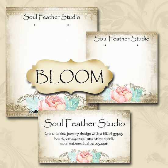 BLOOM•Custom Cards•Labels•Earring Display•Clothing Tags
