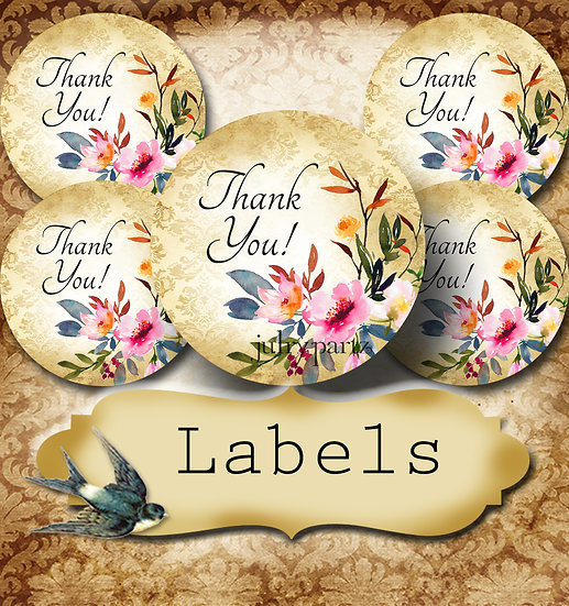 PREMADE •60 Custom 1.5 x 1.5 Round STICKERS•Round Labels•SAVANNAH WREATH 2