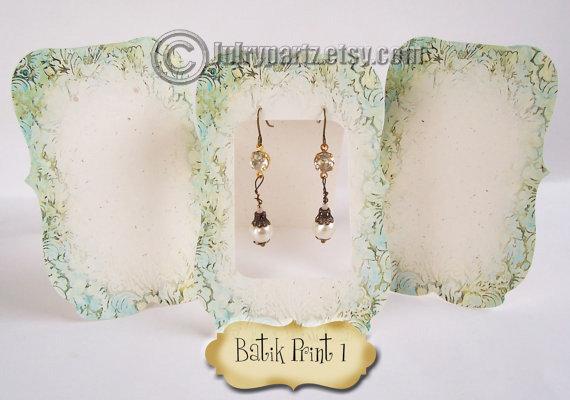 36• Zoe BATIK #1•Tent Cards•EARRING CARDS•Jewelry Cards•Earrin