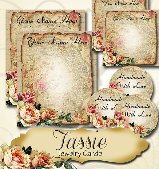 TASSIE•Custom Cards•Labels•Earring Display•Clothing Tags