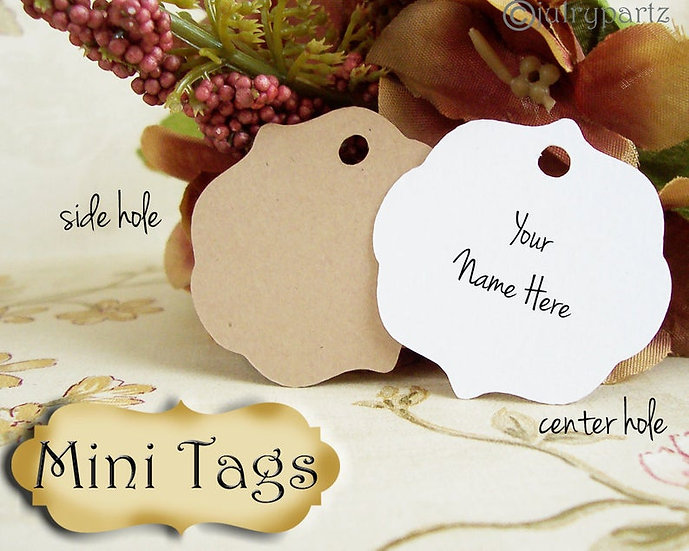 30 MINI TAGS #10 • 1.5 X 1.5 inch•Necklace Tags•Bracelet Tags•Price Tags