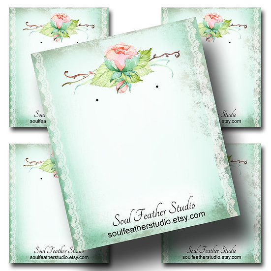 PINK PEONY•Custom Cards•Labels•Earring Display•Clothing Tags