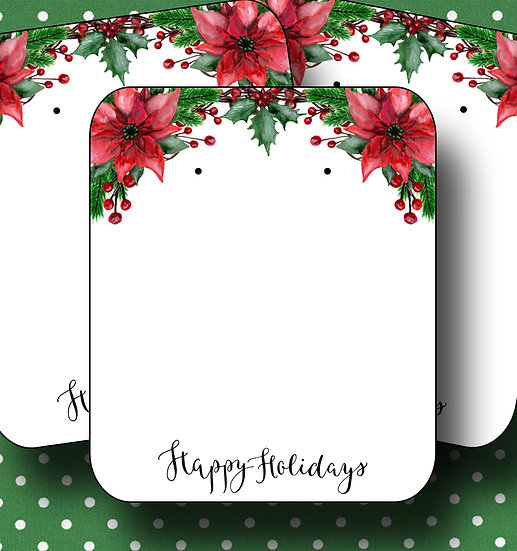 HOLIDAY•Earring Cards•Holiday Tags•Holiday Labels•HOLLY 2