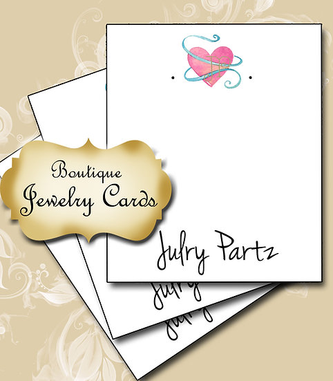 PINK HEART•Custom Cards•Labels•Earring Display•Clothing Tags