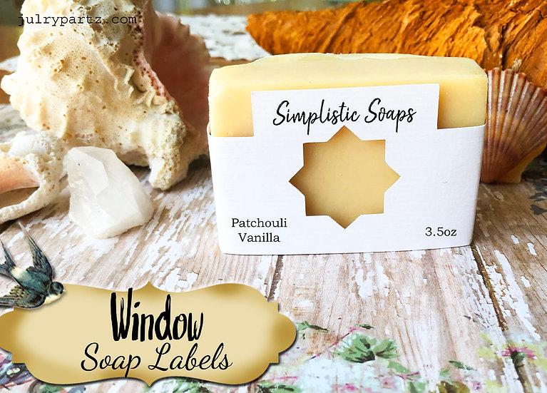 36•8 POINT WINDOW Custom SOAP Labels•Soap Packaging•Bar Soap Label•