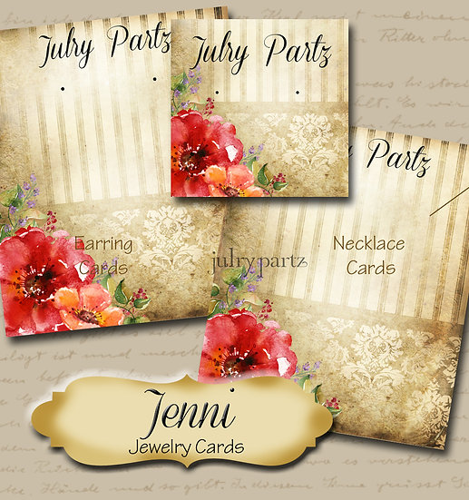 JENNI•Custom Cards•Labels•Earring Display•Clothing Tags