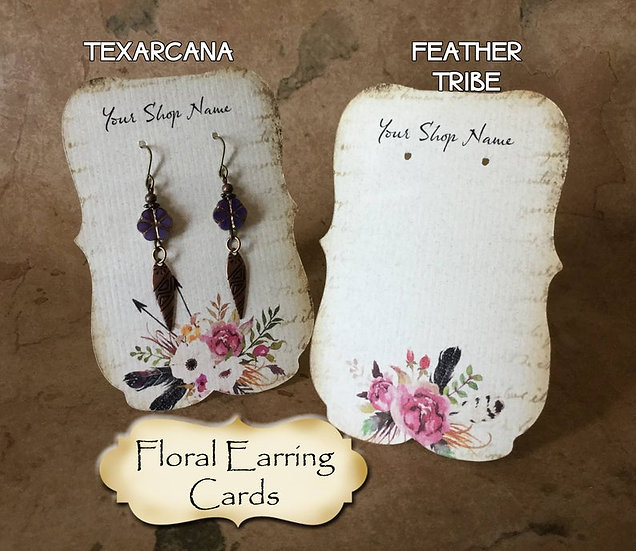 "36•Zoe•FEATHER TRIBE•2.5 x 3.5"" Tent Cards•Earring Card•Jewelry Cards"