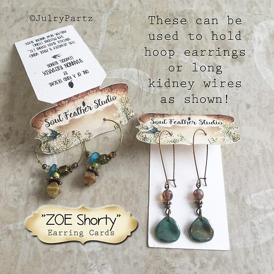 """24•ZOE Shorty•2.5 x 1""""•Decorative Ear Cards•Jewelry Cards•Earring Card"""