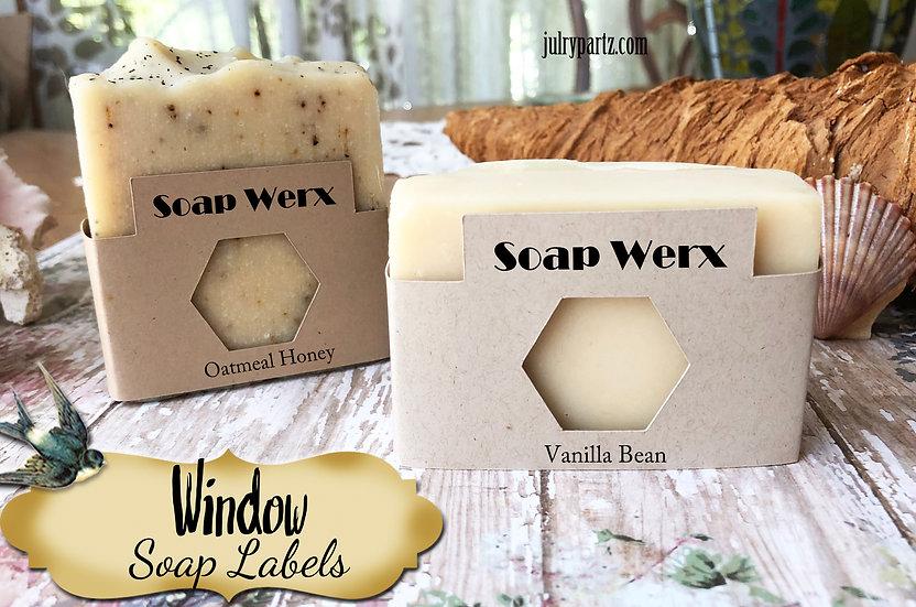 36•HEXAGON WINDOW Custom SOAP Labels•Soap Packaging•Bar Soap Label•