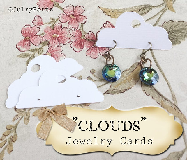 60•1 x 2•CLOUDS•EARRING Cards•Jewelry Card•Post Earring Card•STUD 7