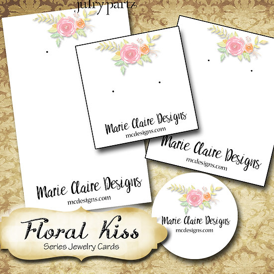 FLORAL KISS•Custom Cards•Labels•Earring Display•Clothing Tags