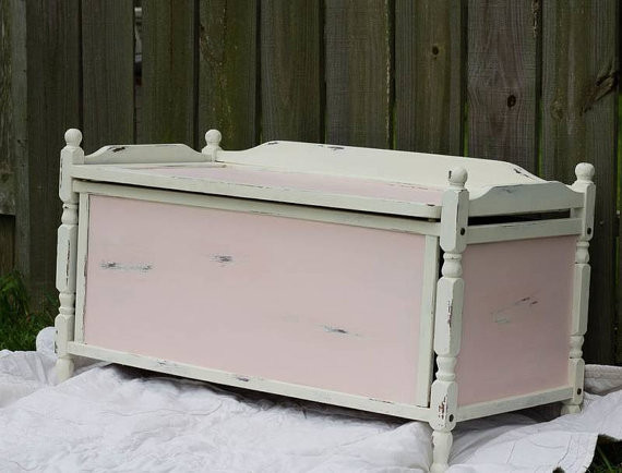 Shabby chic toy box painted by Wild Attic.