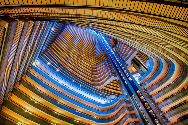 Looking up the atrium of the Marriott
