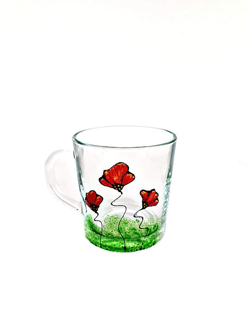 Ceaşcă din sticlă, pictată manual