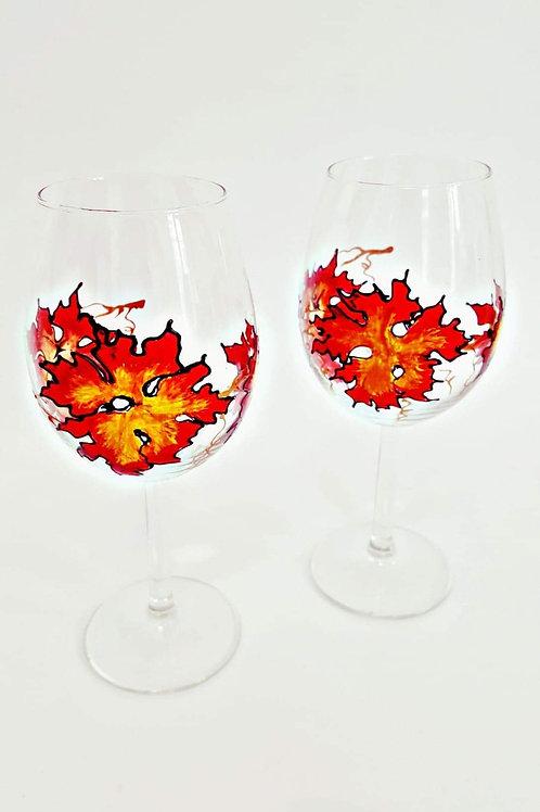 Pahare pentru vin, pictate manual