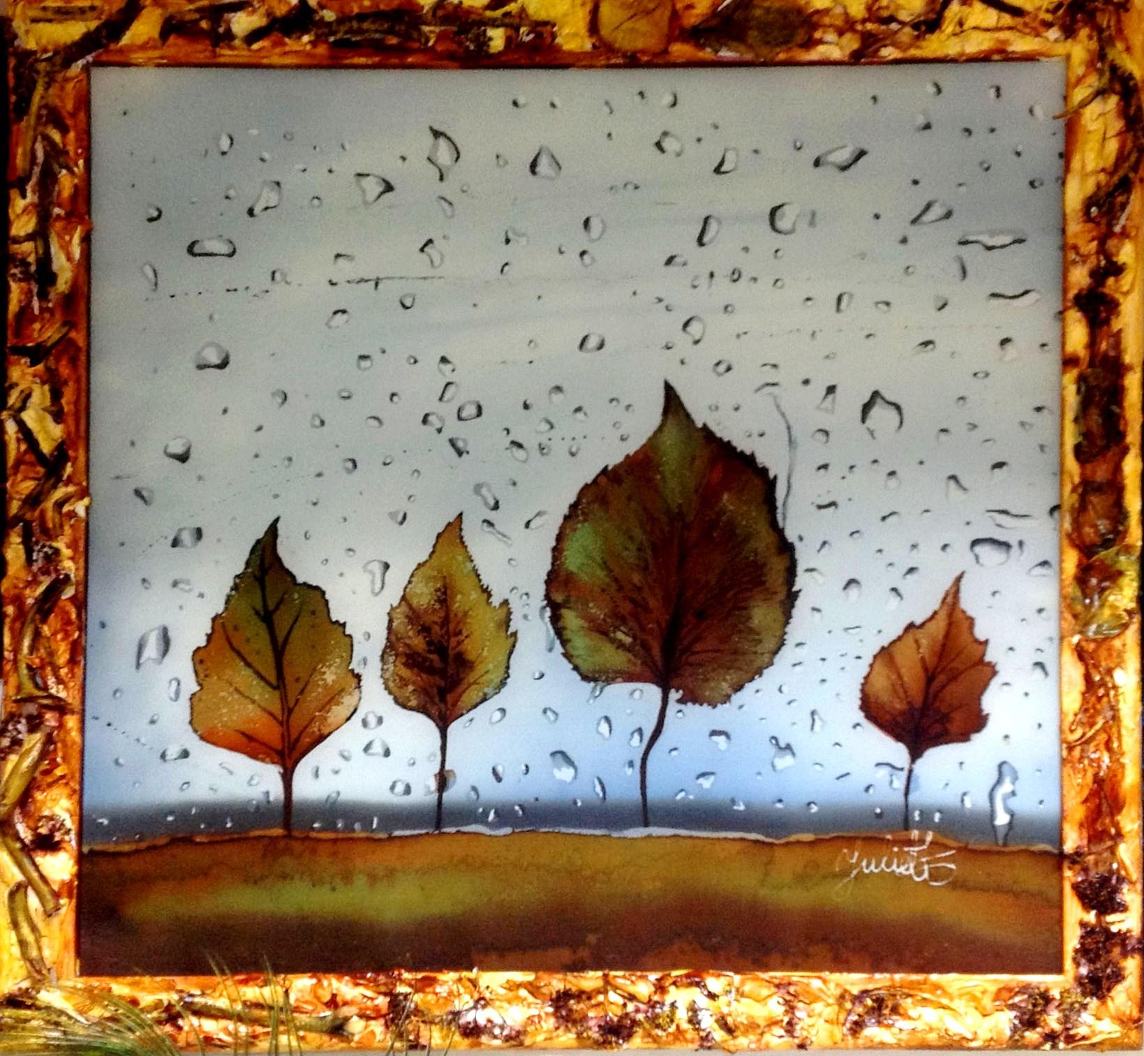 Листья на мокром стекле. 2018 г.