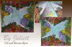 Роспись платка под композицию зонта