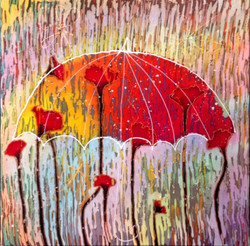 Маки в дожде. 2016 г.