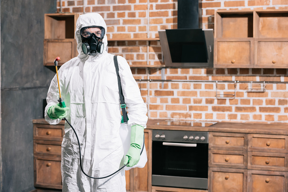 man spraying pesticides in PPE gear Imperial Pest Prevention Technician