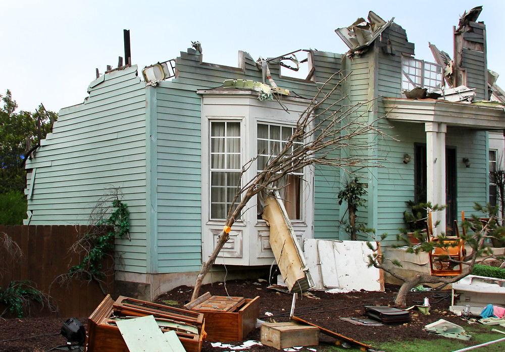 Florida home damaged by a storm