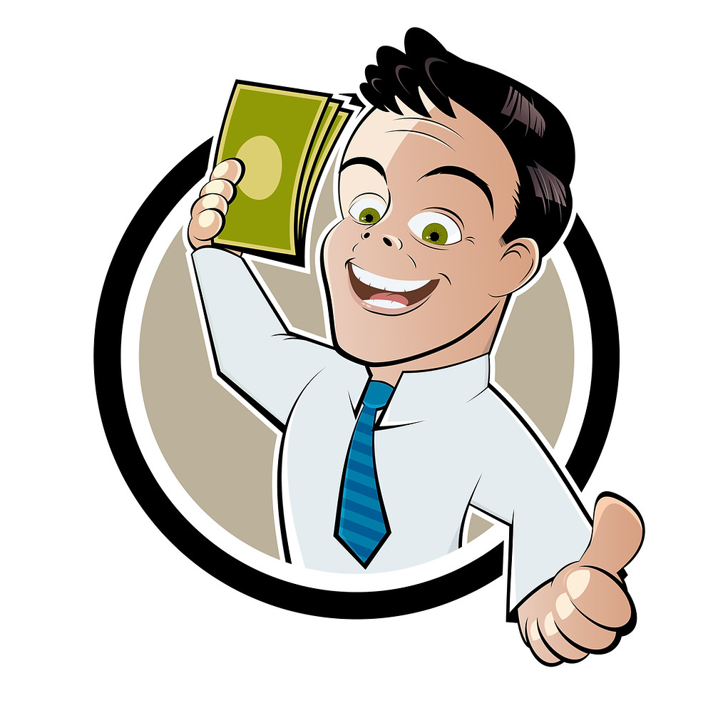Vector of man holding money