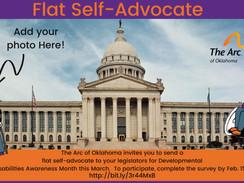 Send a flat self-advocate to legislators for Developmental Disabilities Awareness Month