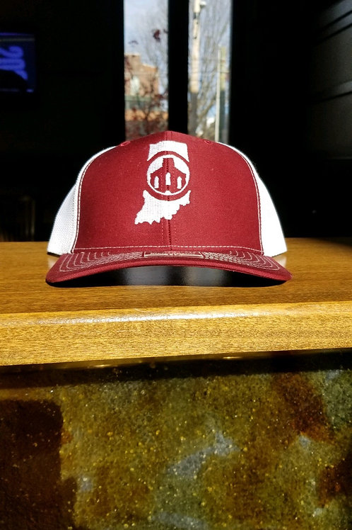 Saint Joseph Brewery RED Trucker Hat w/Indiana Outline