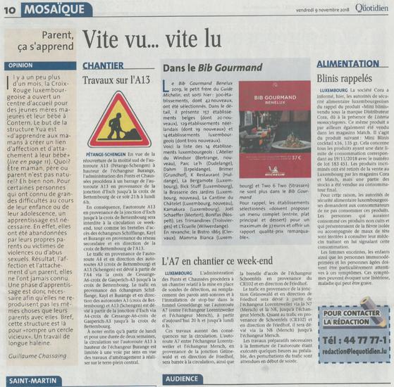 BIB Gourmand 2019 Le Quotidien
