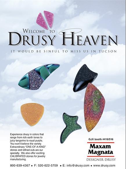 Maxam Magnata Inc ad for Drusy.com, exhibiting at AGTA Tucson Gem Show