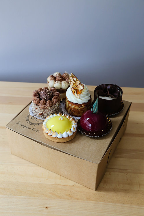 Box of assorted cakes