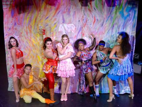 Erica Malachowski (left of center) as Calliope in XANADU