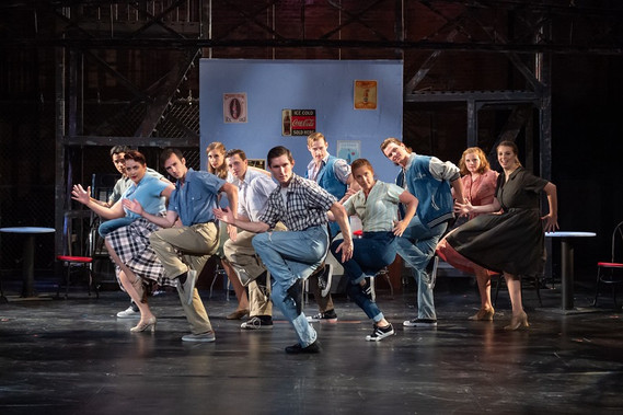 Erica Malachowski (second from left) as Minnie in WEST SIDE STORY