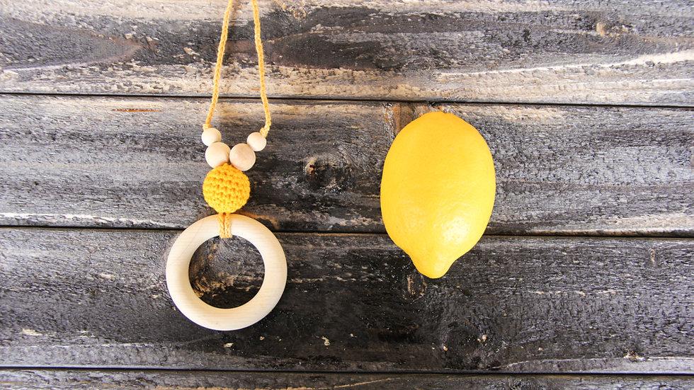 Amningshalsband med bitring - citrongull