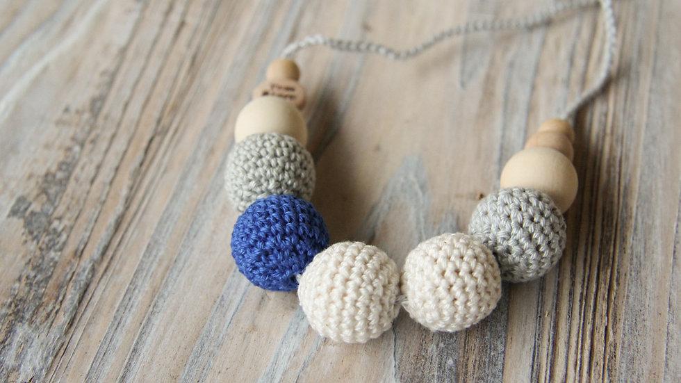 Amningshalsband - grått och blått