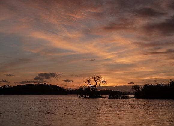 Sunset at Lough Lane lake