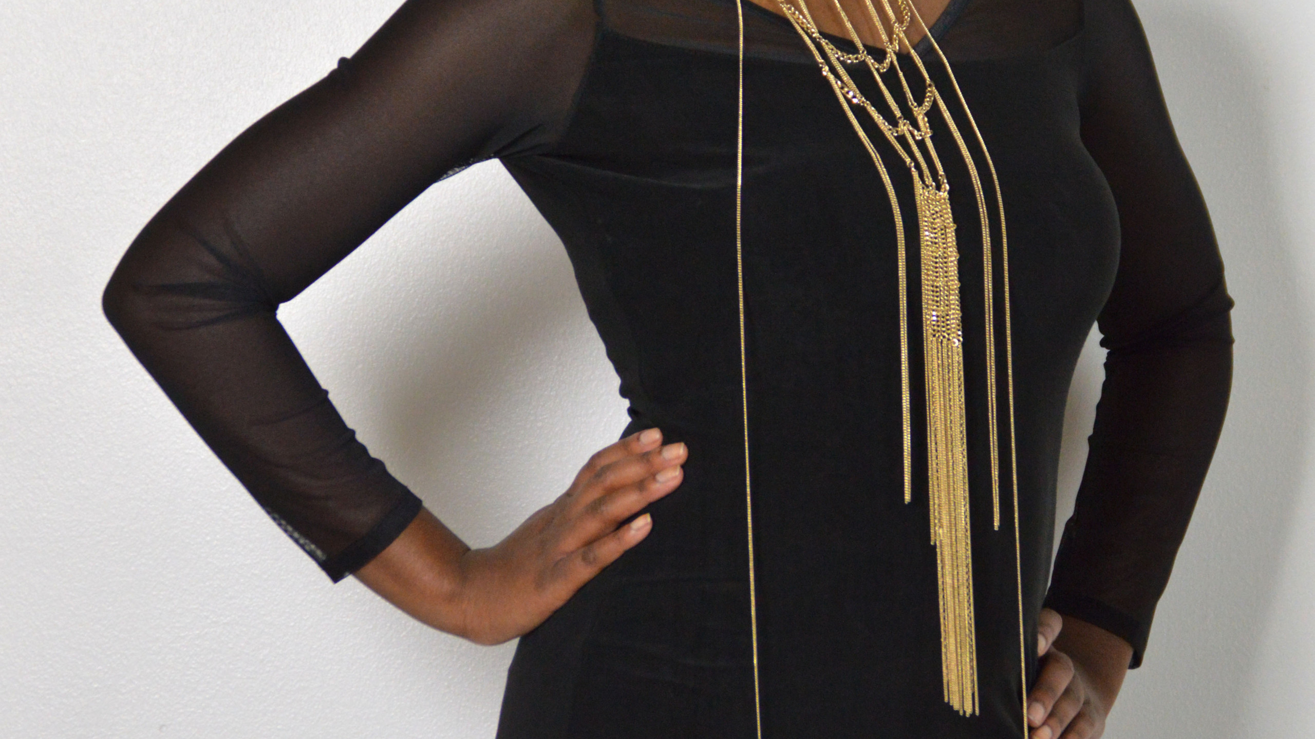 Long Black Mesh Sleeve Dress