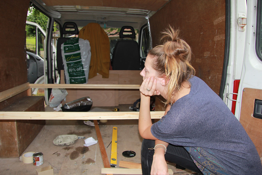 Earliest pic of the van as we started putting in a bed frame.