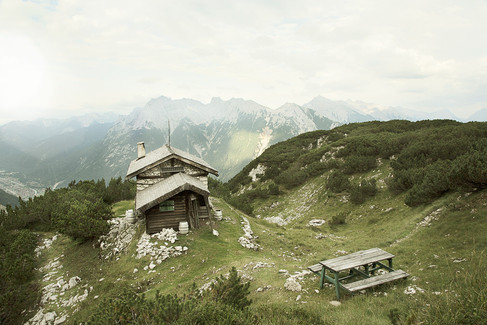 A cabin on a mountain top